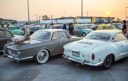 Back view of vintage Volkswagen Karmann Ghia Type 14 and 34 show in VW club meeting. Bangkok, Thailand - February 9, 2019: Back view of vintage Volkswagen stock photos