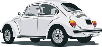 Back view of a vw beetle. Vector ilustration of a white vw beetle Royalty Free Stock Image