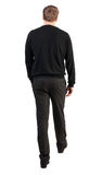 Back view of walking  business man.  going young guy. Guy in office clothes went off. Isolated over white background. Rear view people collection.  backside Stock Photo
