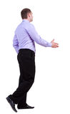 Back view of walking business man hand shake Royalty Free Stock Image