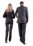 Back view of walking business team Royalty Free Stock Photo