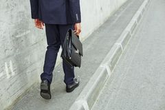 Back view of walking employee stock photography