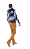 Back view of walking handsome man in jeans and striped sweater. Royalty Free Stock Photo