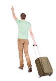 Back view of walking  man  with suitcase. Stock Photography