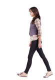 Back view of walking woman . Beautiful, long-haired brunette woman goes about his business Rear view people collection.  backside view of person. Isolated over Royalty Free Stock Photo