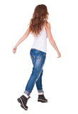 Back view of walking  woman Royalty Free Stock Photography