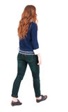 Back view of walking  woman Royalty Free Stock Image
