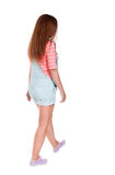 Back view of walking  woman. beautiful redhead girl in motion. Stock Images