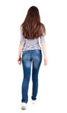 Back view of walking woman in jeans . Beautiful brunette girl in motion. Backside view of person. Rear view people collection. Isolated over white background stock photos