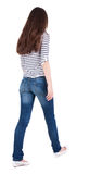 Back view of walking  woman in jeans Royalty Free Stock Photo