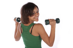 Back view weights Stock Photo