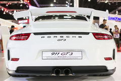 Back view of white Porsche GT3  at The 35th Bangkok International Motor Show, Concept Beauty in the Drive on March 27, 2014 in Ban Stock Image