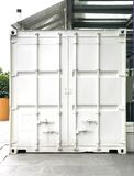 Back view of white shipping container Stock Photos