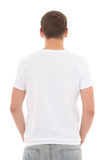 Back view of white t-shirt on a man isolated Stock Photo