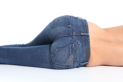 Back view of woman bottom with blue jeans Royalty Free Stock Photos