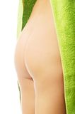 Back view woman buttocks wrapped in towel Stock Photo