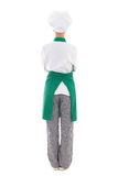 Back view of woman in chef uniform - full length isolated. On white background royalty free stock images