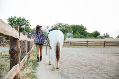 Back view of woman cowgirl walking with horse Royalty Free Stock Photo