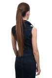 Back view of woman in a denim dress Royalty Free Stock Photos