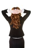 Back view woman having neck pain holding head Royalty Free Stock Photography