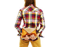 Back view of woman  holding a handbags Stock Images