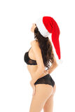 Back view woman in lingerie with santa claus hat Royalty Free Stock Photos