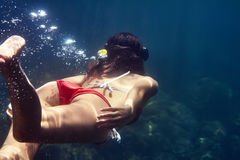 Back view of woman with mask swimming underwater Stock Photos