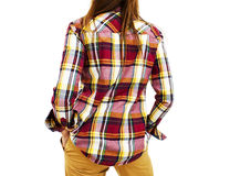 Back view of woman in plaid shirt Stock Images