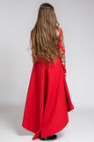 Back view of a woman in red dress with long beautiful hair Royalty Free Stock Photography