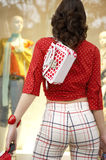 Back View of Woman Shopping Stock Photo