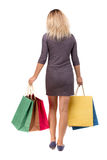 Back view of woman with shopping bags . beautiful brunette girl in motion.  backside   person. Stock Images