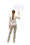 Back view woman showing sign board. Man holds information plate. Rear view people collection. backside view of person. Isolated over white background. A girl Royalty Free Stock Photo