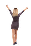 Back view of  woman thumbs up. Rear  people collection. backside   person. Stock Photo