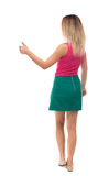 Back view of  woman thumbs up. Rear  people collection. backside   person. Royalty Free Stock Photography