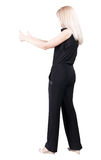 Back view of  woman thumbs up. Stock Photo