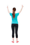 Back view of  woman thumbs up. Royalty Free Stock Photos