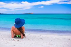 Back view of woman at tropical beach during summer Royalty Free Stock Photos