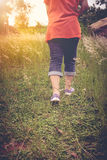 Back view of  woman walking exercise, health concept, outdoors. Royalty Free Stock Photography