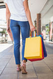 Back view of woman walking with shopping bags Stock Photo