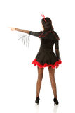 Back view woman wearing devil clothes Royalty Free Stock Image