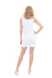 Back view of woman in white dress Royalty Free Stock Image