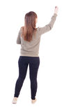 Back view of writing beautiful woman. Royalty Free Stock Photos