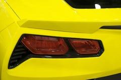 Back view of a yellow sport car Chevrolet Corvette Z06. Car exterior details. Sankt-Petersburg, Russia, July 21, 2017: Back view of a yellow sport car Chevrolet Stock Photo