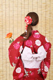 Back view of young asian woman Stock Images