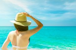 Back view of young Asian woman wear pink bikini, straw hat, and sunglasses relaxing and enjoy holiday at tropical paradise stock image