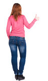 Back view of young beautiful woman Stock Photo