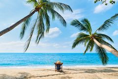 Back view of young beautiful woman sunbathe and relax on tropical beach alone stock photo