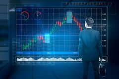 Fund management and finance concept. Back view of young businessman managing abstract digital forex chart screen. Fund management and finance concept in blurry Stock Image