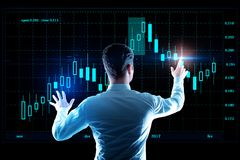 Fund management and profit concept. Back view of young businessman managing abstract digital forex chart screen. Fund management and profit concept. 3D Rendering Stock Images