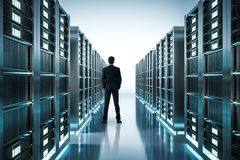 Businessman in server room royalty free stock photos